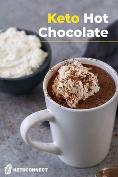 Our Keto Hot Chocolate combines dark chocolate squares and canned coconut milk for a dairy free twist on a classic thick hot chocolate recipe! #hotchocolate #ketodesserts #fatbomb Frappuccino, Low Carb Keto, Low Carb Recipes, Keto Carbs, Paleo Recipes, Sugar Free Whipped Cream, Low Carb Drinks, Chocolate Squares, Chewy Chocolate Chip Cookies