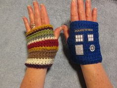 Dr. WHO Fingerless Gloves - these are awesome!! I think I want some... :) (TARDIS and 4th Doctor Scarf by GeekierThanThou, $22.00) - they have other designs for the left glove too, like the 11th doctor's outfit, a Dalek, a banana, etc....