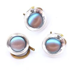 Vintage Antique Art Deco Saphiret Glass Silver Tone Buttons   Clarice Jewellery