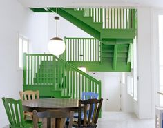 Three stories of continuous green staircase...quite lovely