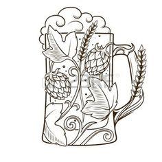 Beer art: Beer mug abstract ornament vector illustration. Lion Head Tattoos, Beer Hops, Oktoberfest Beer, Beer Art, Engraving Illustration, Free Beer, Desenho Tattoo, Tattoo Flash Art, Home Brewing Beer
