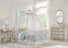picture of Disney Princess Silver 6 Pc Twin Carriage Bedroom from Girls' Bedroom Sets Furniture