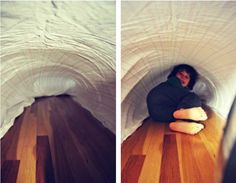 We are big suckers for indoor play structures, but there's always some hesitation about introducing new stuff and the attendant storage challenges. That's why this air fort rocks. It's a simple temporary structure that provides a unique sensory experience with everyday household objects.