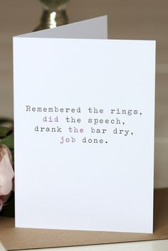 Wedding Thank You Card - 'Remembered The Rings'