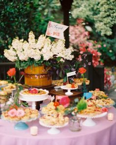 Instead of cake, this couple had a table of pies beautifully displayed on various cakes stands