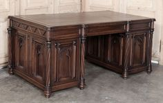 Antique French Gothic Walnut Desk  #Antique #Desks www.inessa.com #antique furniture #gothic