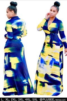 Buy 2017 New Summer Dress Women Digital Printing Dresses V-neck Sleeve Tunic Long Dress Beach Maxi Dress Plus Size at Wish - Shopping Made Fun Curvy Girl Fashion, Look Fashion, Plus Size Fashion, African Attire, African Dress, Cute Dresses, Cute Outfits, Party Dresses, Maxi Dresses