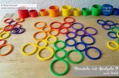 Spielgaben-Mandala-Vorlage zum Nachlegen für Kinder mit den Ringen der Spielgabe 9 nach Friedrich Fröbel (Fröbel-Material, Fröbelspielzeug) Spielgaben:  http://www.friedrich-froebel-online.de/s-p-i-e-l-g-a-b-e-n/ Spielgaben kaufen:  http://www.friedrich-froebel-online.de/shop/