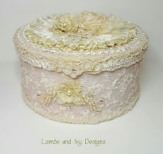 I ❤ ribbonwork . . . Beautiful lace and ribbonwork box.  ~By Lambs and Ivy Designs