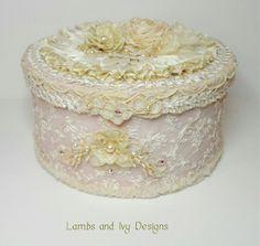 I ❤ ribbonwork . . . Beautiful lace and ribbonwork box.  ~By Lambs and Ivy Designs