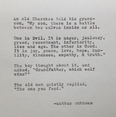 Cherokee Grandfather and Wolf Quote Typed on by WhiteCellarDoor