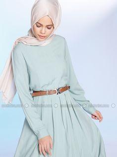 39d5e01d49aa Green - Polo neck - Unlined - Viscose - Dresses