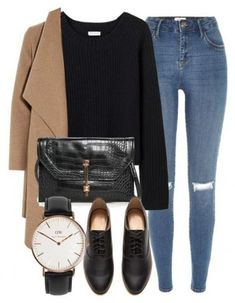 Casual outfit of the day featuring River Island, Organic by John Patrick, Harris Wharf London, MANGO, H&M and Daniel Wellington Mode Outfits, Casual Outfits, Fashion Outfits, Ladies Outfits, Casual Jeans, Party Fashion, Party Outfits, Dress Casual, Fashion Ideas