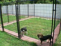 One of my favorite ideas is to put patio stones around the edge of the fence. Makes digging a little harder. #DogKennels