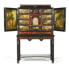 A FLEMISH EBONY AND TORTOISESHELL VENEERED CABINET ON STAND, ANTWERP LATE 17TH CENTURY, THE STAND 19TH CENTURY