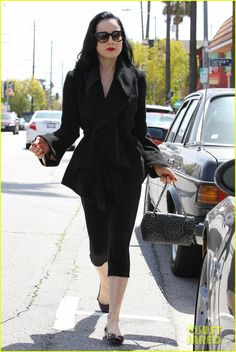 Dita Von Teese leaves a Pilates class on Wednesday (March 28) in Los Feliz, Calif.