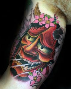 Mens Inner Arm Bicep Hannya Mask Tattoo