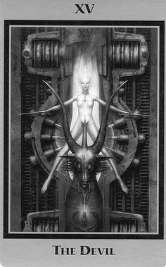 H.R. Giger Tarot- The Devil - If you love Tarot, visit me at www.WhiteRabbitTarot.com