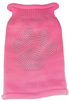 Clear Rhinestone Paw Knit Pet Sweater - Many Colors Available