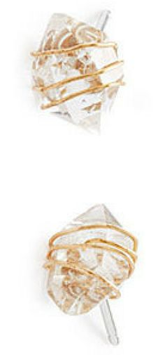 """Diamonds  are a girl's best friend?but so are a fierce pair of shoes, Champagne,  and a weekend in Paris. Fight for your right to sparkle without  sacrificing other """"best friends"""" with these Herkimer diamond studs.  Gold-toned wire is wrapped around the luminous quartz, adding  handcrafted detail and whimsical texture. #shopping #love #ad #iwant #gift"""