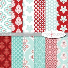 Christmas Digital Scrapbook Paper Pack - Scandia Red    (Buy 2 Get 1 Free) Personal and Small Commercial Use