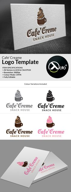 Cafe Creme  Logo Template -  Creme is a logo template for snack store business like coffee, ice cream, cookies, panini etc.