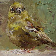 """Olieverf """"Bird"""" op paneel, maat 10 x 10 cm te koop voor euro 55,00 + verzendkosten email mij of kijk op mijn blog"""