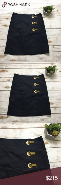 """Tory Burch NWT Navy blue pencil skirt Navy blue Tory Burch pencil skirt with gold clad closure details. NWT and details for $295. Size 2. """"Maribel Skirt"""". Feel free to ask questions or make an offer! Bundle for a discount! 0224 Tory Burch Skirts Pencil"""