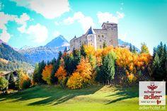 Naudersburg in Nauders umgeben von einer bunten Herbstlandschaft Bunt, Winter, Painting, Fall Landscape, Summer, Winter Time, Painting Art, Paintings, Painted Canvas