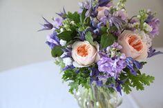flower design, bouquet, david austin rose, clematis,geranium