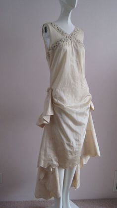 Gorgeous 1920s Water Silk Cream Wedding Dress Roses, Beading. Front