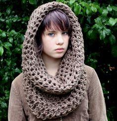 The Chunky Cowl neck shawl scarf hood bark brown Crochet Hooded Scarf, Crochet Scarves, Crochet Shawl, Crochet Clothes, Knit Crochet, Loom Knitting, Knitting Patterns, Crochet Patterns, Crochet Crafts