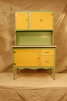 Restored Hoosier cabinet. I WANT IT! But I want it gray and yellow :)