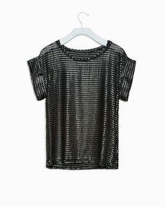 Palmer Top - slightly sheer, black, short sleeve top, with metallic embossed detailing.