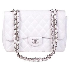 Pre-Owned Chanel Jumbo Classic Caviar Shoulder Bag ($3,130) ❤ liked on Polyvore featuring bags, handbags, shoulder bags, white, white handbags, white leather purse, white purse, chanel handbags and real leather purses