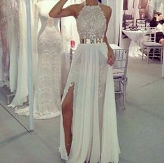 classy halter white lace long prom dress with slit ,party dress with belt for 2015