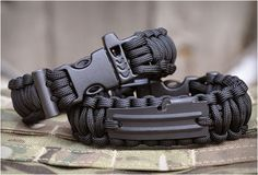 The Survival Bands by Re Factor Tactical carry all the essentials on your wrist allowing you to survive anytime, any place. They feature a can opener, fishing line and fishing hook, a flint fire starter rod, 12´of 550 Paracord, a handcuff key, and a buckle with a built-in whistle.