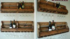 DIY wine rack with plenty of rustic charm - Decoist Dressing En Palette, Vin Palette, Palettes Murales, Coffee Table With Storage, Table Storage, Wooden Pallets, Bar, Bathroom Medicine Cabinet, Wine Rack