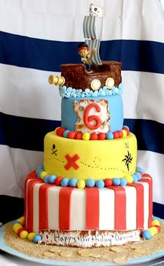 Jake and the Neverland Pirates Cake by Butterfly Sweets   #piratecake #pirateship #jakeandtheneverlandpirates