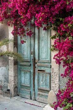 Alte Holztür mit Bougainvillea in Zypern Fototapete