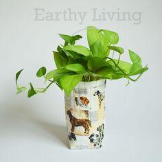 Dog decoupage Wall hanging wicker Plant pot Planter Flower basket indoor garden #HandmadebyEarthlyLiving