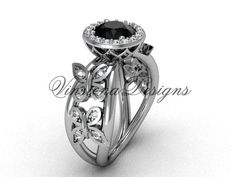 Platinum butterfly engagement ring, Black Diamond VF301013