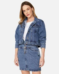 JAQUETA JEANS MANGA AMPLA | AMARO All Jeans, Moda Online, Ideias Fashion, Shirt Dress, Denim, Casual, Skirts, Jackets, Tops