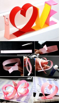 snail – from colored paper strips Valentines Origami, Valentine Day Crafts, Holiday Crafts For Kids, Easter Crafts For Kids, Arts And Crafts, Paper Crafts, Diy Crafts, Valentine Day Week, Paper Ribbon