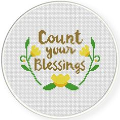 Count Your Blessings, Handmade Unframed Cross Stitch- Wall Art, Funny Art, Sayings, Count Your Bless Cross Stitch Family, Cross Stitch Owl, Cat Cross Stitches, Small Cross Stitch, Cross Stitch Designs, Cross Stitching, Cross Stitch Embroidery, Cross Stitch Patterns, Hand Embroidery