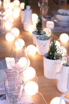 Small trees and candle lights