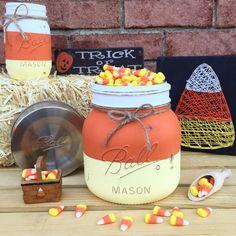 Candy Corn Candy Bowl Candy Corn Mason Jar by MidnightOwlCandleCo