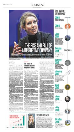 The Rise and Fall of a Disruptive Company Epoch Times #Theranos #ElizabethHolmes #newspaper #editorialdesign