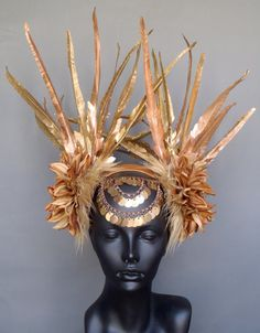MADE TO ORDER Gold Faux Feather Headdress by MissGDesignsShop, $300.00