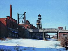 """Stephen does marvelous work -- his architectural paintings of Detroit are marvelous. I want each and every one.  Stephen Magsig """"Dequindre Cut Water Tanks"""", oil on linen panel, 18""""x24""""  http://postcardsfromdetroit.bigcartel.com"""
